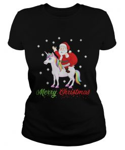 Ladies Tee Merry Christmas Santa Claus Riding A Unicorn Shirt