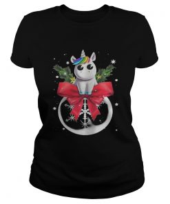 Ladies Tee Unicorn Christmas Shirt