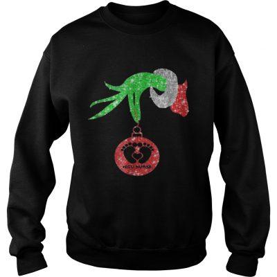 Nurse Grinch hand holding Fabulous NICU Christmas Sweatshirt