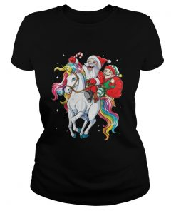 Santa and Elf riding Unicorn christmas Ladies Tee