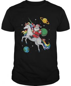 Santa riding Unicorn in space Christmas Guys