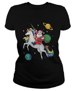 Santa riding Unicorn in space Christmas Ladies Tee