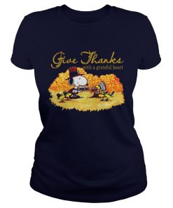 Snoopy and woodstock give thanks with a grateful heart Ladies Tee