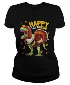 T Rex Dinosaur Turkey thanksgiving ugly Ladies Tee