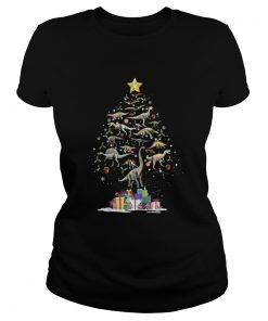The Dinosaur Christmas Tree Ladies Tee