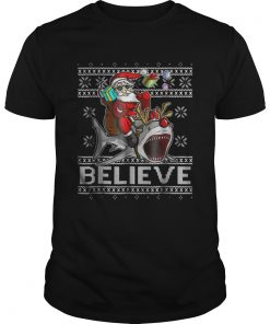 Guys Believe in Santa Riding Shark Christmas Ugly
