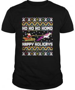 Guys Official Santa riding unicorn Ho Ho Ho Homo happy holidays