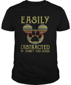Guys Vintage Easily distracted by Disney and dogs shirt