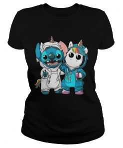 Ladies Tee Baby Unicorn and Stitch shirt