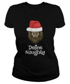 Ladies Tee Bigfoot Santa define naughty