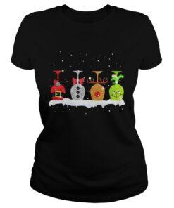 Ladies Tee Christmas wine glasses Grinch