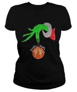 Ladies Tee Grinch Hand Holding Ornament Smilin Rylean