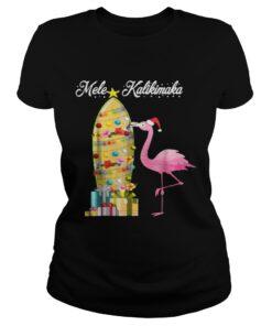 Ladies Tee Hawaii Mele Kalikimaka Flamingo Hawaiian Christmas