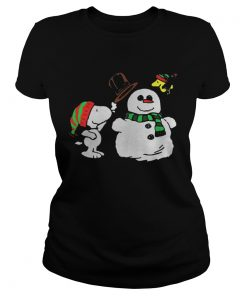 Ladies Tee Snoopy Woodstock and Snow Christmas ugly