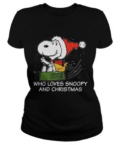 Ladies Tee Snoopy who loves Snoopy and Christmas