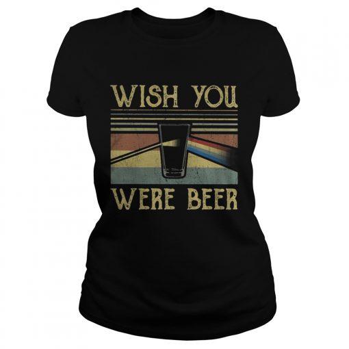 Ladies tee Wish You Were Beer Pink Floyd vintage