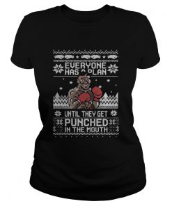 ladies Tee Mike Tyson Punch Everyone has a plan until ugly Christmas