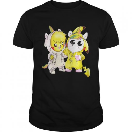 Guys Baby Pikachu and unicorn shirt