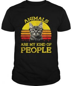 Guys Cat animals are my kind of people retro shirt