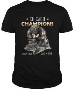 Guys Chicago champions bear 34 2005 2006 2010 2018 shirt