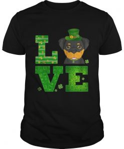 Guys Love Rottweiler St Patricks Day Green Shamrock TShirt