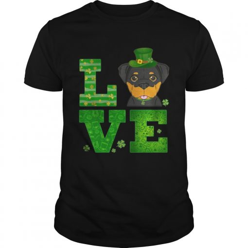 Guys Love Rottweiler St Patricks Day Green Shamrock TShirt