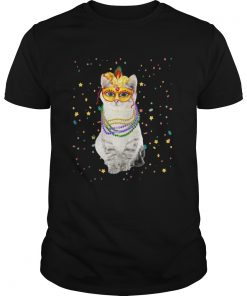 Guys Mardi Gras Cat Mask Beads TShirt
