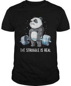 Guys Panda Bear gym the struggle is real shirt