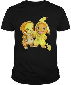 Guys Pikachu and Pikachu Charmander pokemon shirt