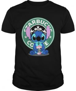 Guys Stitch drinking Starbucks coffee shirt
