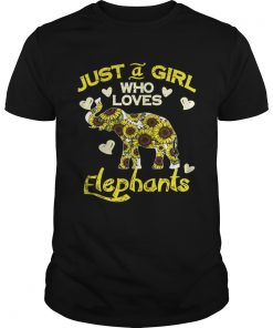 Guys Sunflower Just a girl who loves Elephants shirt