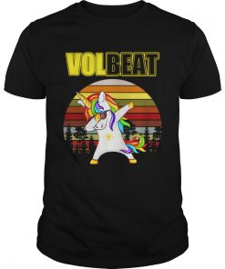 Guys Unicorn dabbing Volbeat retro shirt