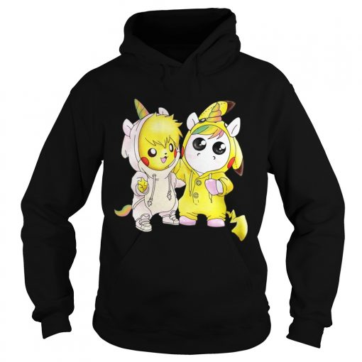 Hoodie Baby Pikachu and unicorn shirt