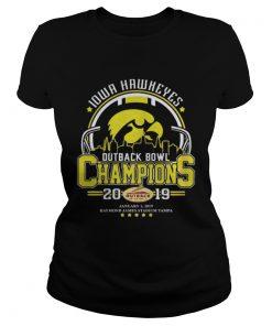 Ladies Tee 10wa hawkeyes outback bowl champions 2019 shirt