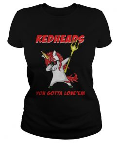 Ladies Tee Awesome Aquaman Unicorn Dabbing Redheads you gotta loveem shirt