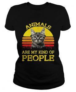 Ladies Tee Cat animals are my kind of people retro shirt