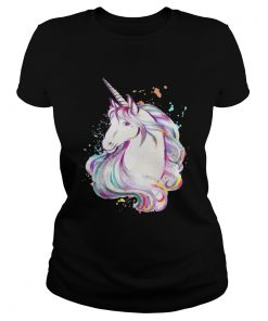 Ladies Tee Colorful Unicorn Rave Lover Funny Rainbow TShirt