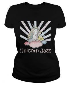 Ladies Tee Cute Unicorn Jazz Colorful TShirt