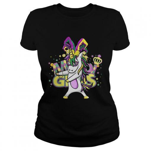 Ladies Tee Flossing Unicorn Mardi Gras New Orleans Party TShirt