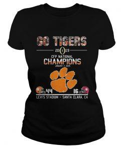 Ladies Tee Go tigers 2019 CFP national champions January 7 2029 44 16 Levis stadium santa clara CA shirt