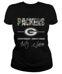 Ladies Tee Green Bay Packers Aaron Rodgers Davante Adams Shirt