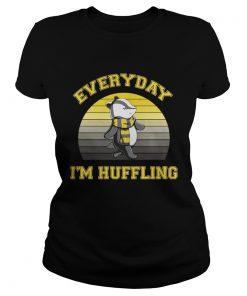 Ladies Tee Huffle Badger everyday I huffling retro shirt