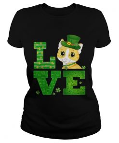 Ladies Tee Love Cat St Patricks Day Green Shamrock TShirt