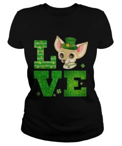 Ladies Tee Love Chihuahua St Patricks Day Green Shamrock TShirt
