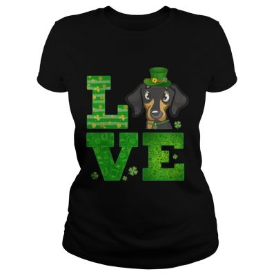Ladies Tee Love Dachshund St Patricks Day Green Shamrock TShirt