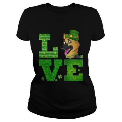 Ladies Tee Love German Shepherd St Patricks Day Green Shamrock TShirt