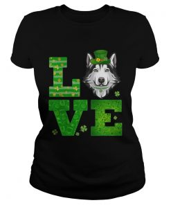 Ladies Tee Love Husky St Patricks Day Green Shamrock TShirt