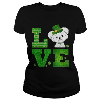 Ladies Tee Love Maltese St Patricks Day Green Shamrock TShirt
