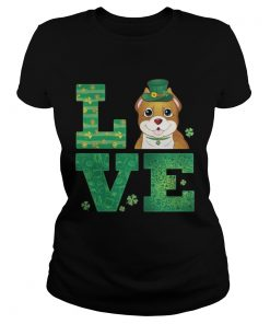 Ladies Tee Love Pit Bull St Patricks Day Green Shamrock TShirt