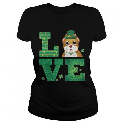 Ladies Tee Love Pit Bull St Patricks Day Green Shamrock TShirt